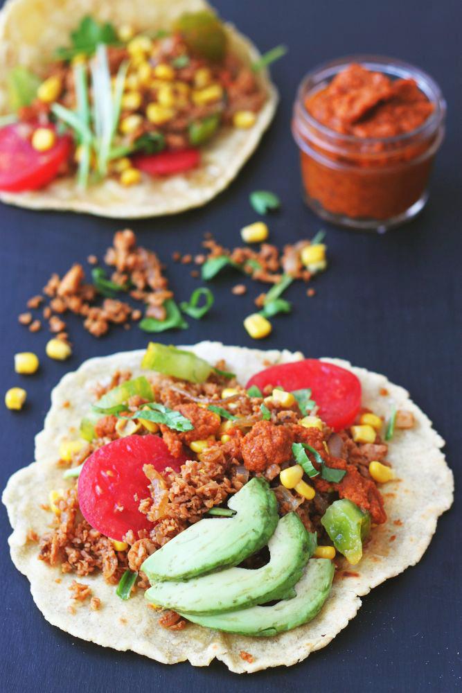 Tacos avec haché végane